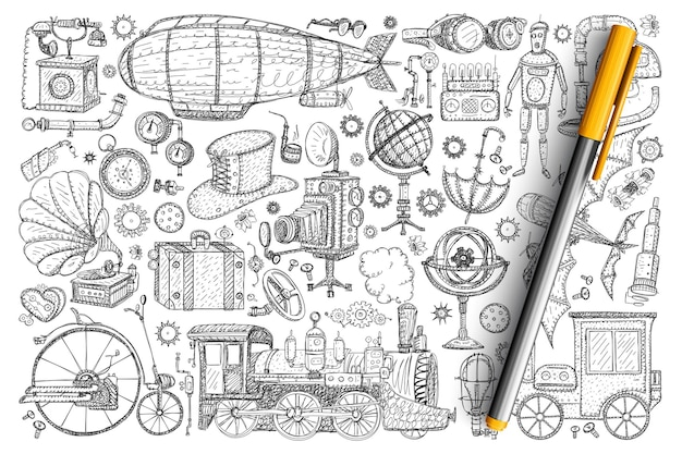 Retro vintage innovations doodle set. collection of hand drawn vintage lamps, accessories, decorations, trains, robots, wheels, cameras, umbrella, spyglass isolated