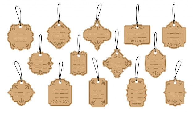 Retro vintage labels on kraft tags set. template with dots for text. different shapes empty border menu sale price