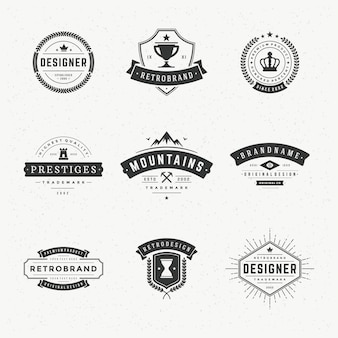 Retro vintage labels or logos set vector design elements