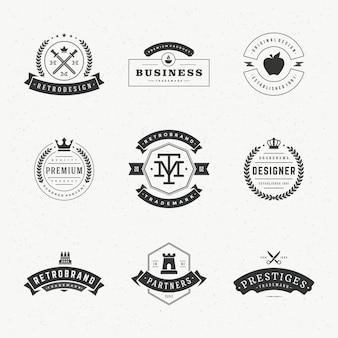 Retro vintage labels or logos set vector design elements