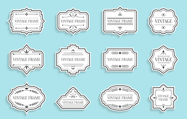 Retro vintage labels paper cut set with shadow. package sticker frame text template. different shape border banner, menu badges