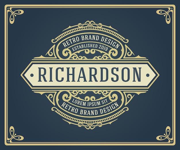 레트로 빈티지 logotypes 또는 휘장 세트. 디자인 요소, 비즈니스 표지판, 로고, 정체성, 레이블, 배지 및 개체.