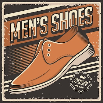 Ретро винтаж мужская обувь плакат знак
