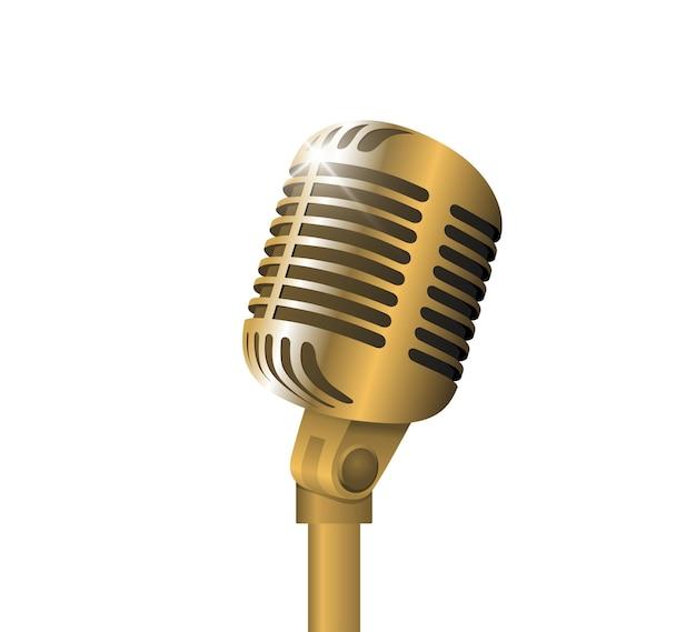 Ретро старинный металлический микрофон на подставке на белом фоне микрофон со значком записи голоса вспышки