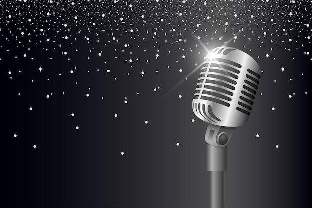 Retro vintage metal microphone on stand on black background with glare and lights mic with flare