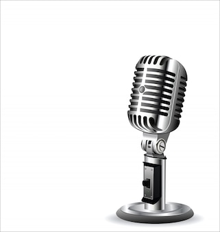 Retro vintage microphone design background