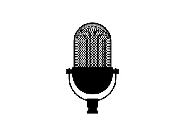 Ретро винтаж микрофон вектор микрофон силуэт музыка значок записи голоса символ студии звукозаписи