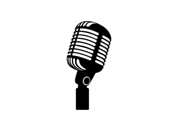 Ретро винтаж микрофон вектор на белом фоне микрофон силуэт музыка голосовая запись значок записи