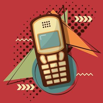 Retro vintage mobile cellphone memphis