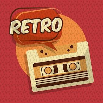 Retro vintage music cassette audio speech bubble