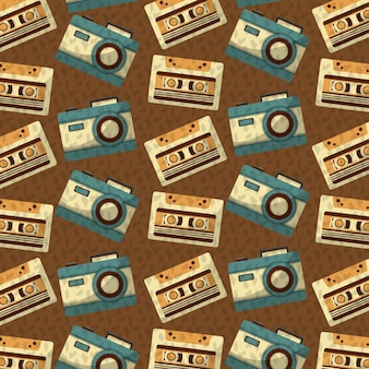 Retro vintage music cassette and camera background