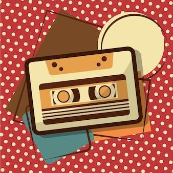 Retro vintage music cassette recorder tape memphis