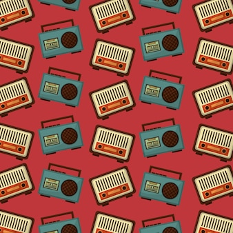 Retro vintage music radio boombox stereo cassette pattern