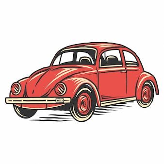 レトロなヴィンテージの古い車のイラスト