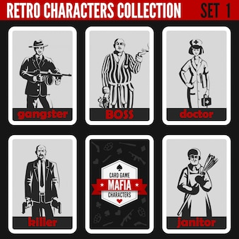 Retro vintage people silhouettes set. gangster, boss, doctor, killer, janitor professions illustrations.