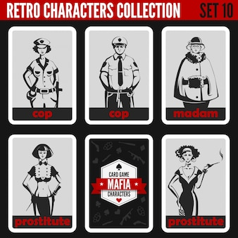 Установлены ретро старинные силуэты людей. мадам, проститутки, менты, иллюстрации профессий.