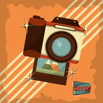 レトロなヴィンテージフォトカメラのデバイスのストライプの背景