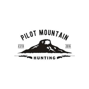 Retro vintage pilot mountain logo design