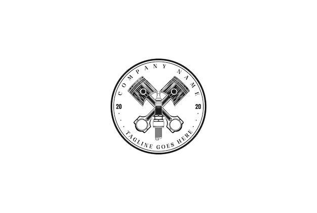 レトロなヴィンテージピストンスパークプラグ自動ガレージロゴデザインベクトル