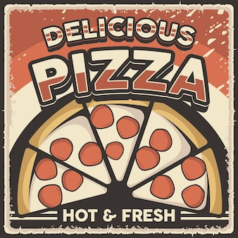 레트로 빈티지 피자 포스터