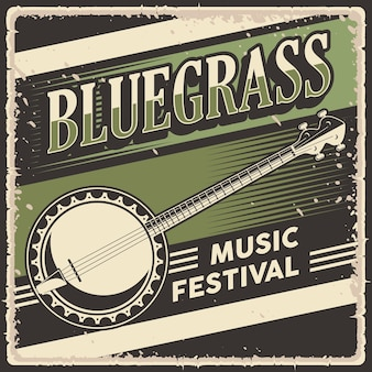 ブルーグラス音楽のレトロなビンテージポスター