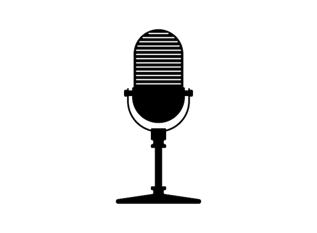 Retro vintage radio microphone mic silhouette music voice podcast record icon recording studio