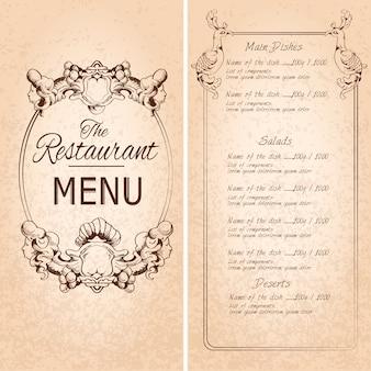 Ретро старинные меню меню ресторана с рамкой и украшение векторной иллюстрации