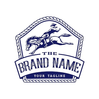 Шаблон логотипа эмблемы ретро-родео
