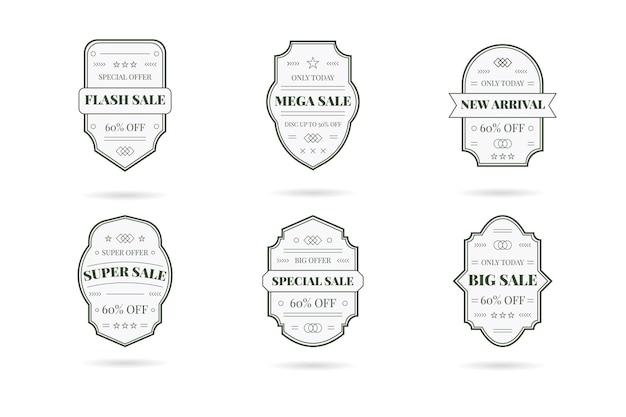 레트로 빈티지 판매 배너 세트입니다. 흰색에 디자인 요소, 비즈니스 표지판, 로고, 정체성, 레이블 등.