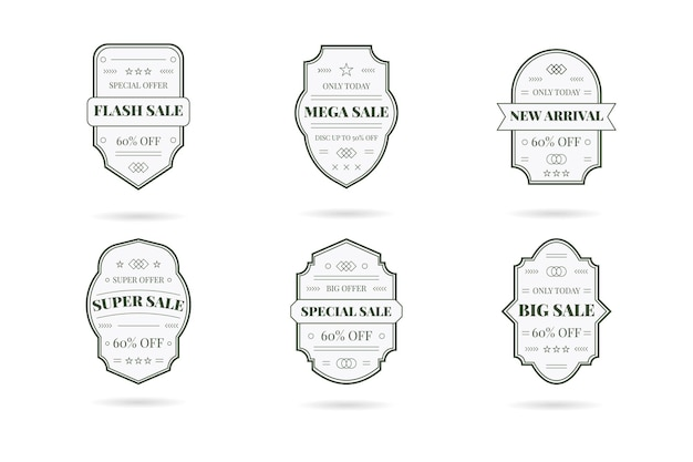 Retro vintage sale banner set. design elements, business signs, logos, identity, labels and more on a white. Free Vector