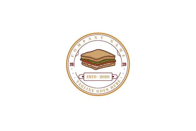 レトロなヴィンテージサンドイッチカフェレストラン製品スタンプラベルロゴデザインベクトル
