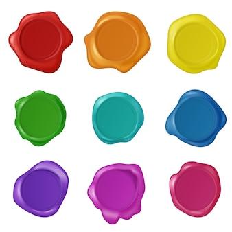 Набор векторных ретро винтаж печать воск штампы. коллекция многоцветных реалистичных восковых штампов.
