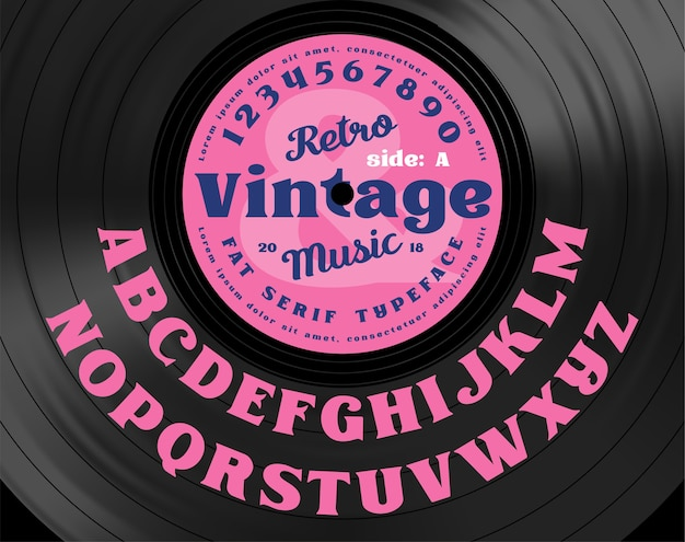 Retro vintage serif bold typeface. alphabet letters on the background of vinyl record.