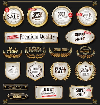Retro vintage shiny golden labels collection