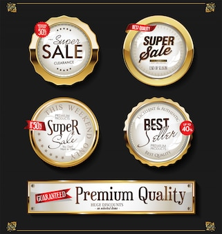 Retro vintage shiny golden labels vector collection
