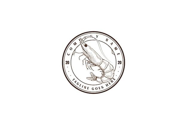 해산물 레스토랑 제품 라벨 로고 디자인 벡터에 대 한 레트로 빈티지 새우 새우 랍스터