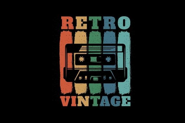 Retro vintage silhouette design with cassette