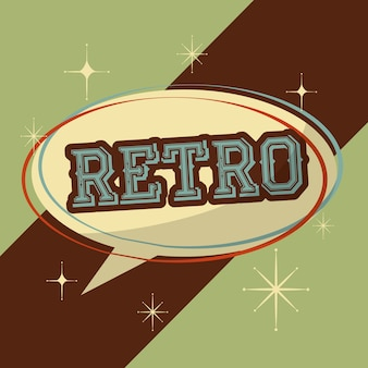 Retro vintage speech bubble typography word