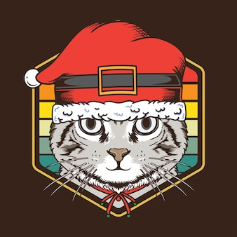 レトロなヴィンテージサンセット猫はサンタ帽子のイラストを使用します