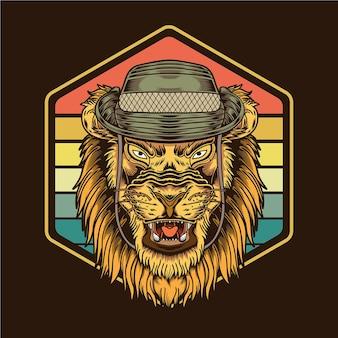 サファリ帽子イラストを身に着けているレトロなヴィンテージサンセットライオン