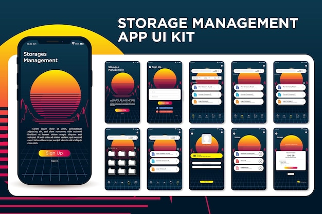 Ретро винтажный закат purple storage management app ui kit