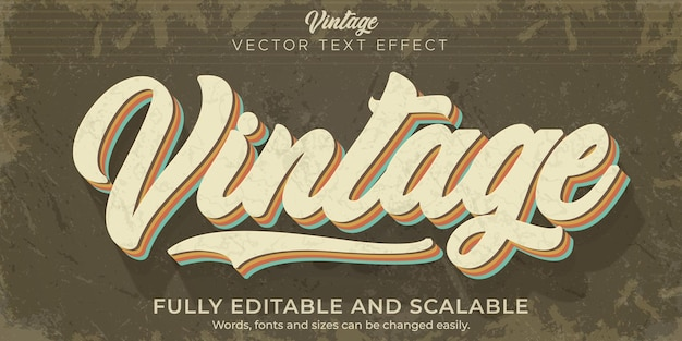 Retro, vintage text effect, editable 70s and 80s text style Premium Vector