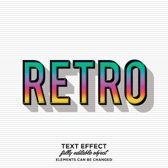 Retro vintage text style with rainbow gradient and shadow