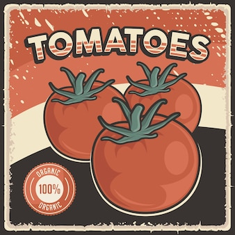레트로 빈티지 토마토 야채 포스터