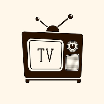明るい背景のベクトル図のレトロなヴィンテージテレビ
