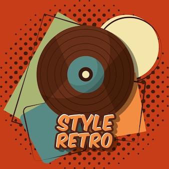 Retro vintage vinyl lp record music halftone background