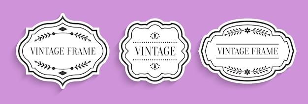 Retro vintage white labels paper cut set with shadow. different shape empty border tag menu sale price with decorative elements.
