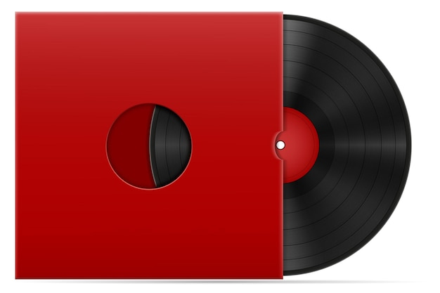 Retro vinyl disk in the cover stock illustration isolated on white background