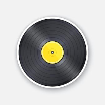Retro vinyl lp record with yellow label vintage plastic audio disc vector illustration