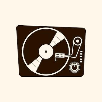 Retro vinyl player icon 60s vector illustration on light background
